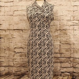 Calvin Klein Sleeveless Zebra Print Dress EUC